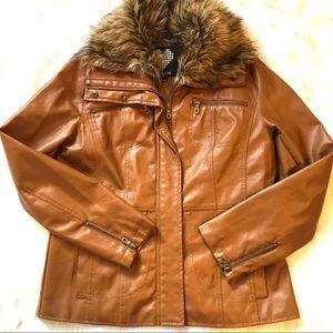 Brown jacket faux leather faux fur collar sz Large